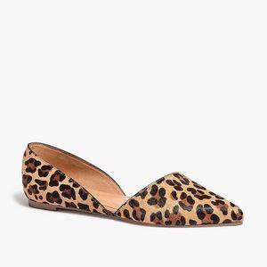 J. Crew Zoe Calf Hair Leopard D'Orsay Flats 8.5